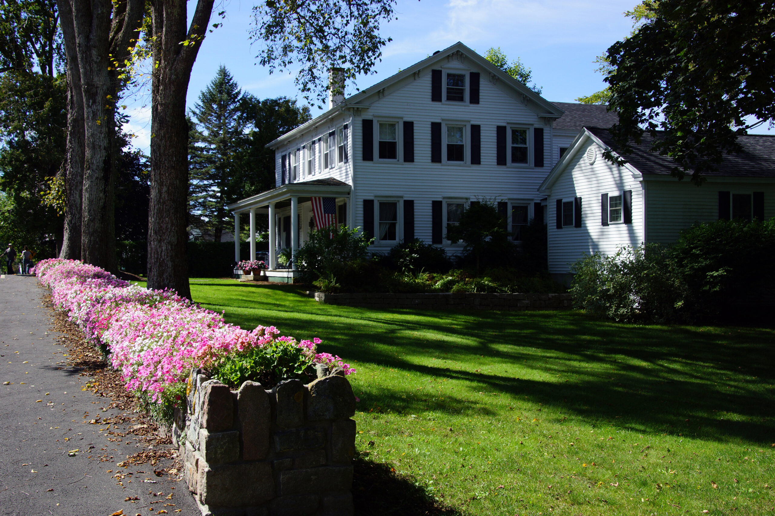 Colorful flowers and classic New England home