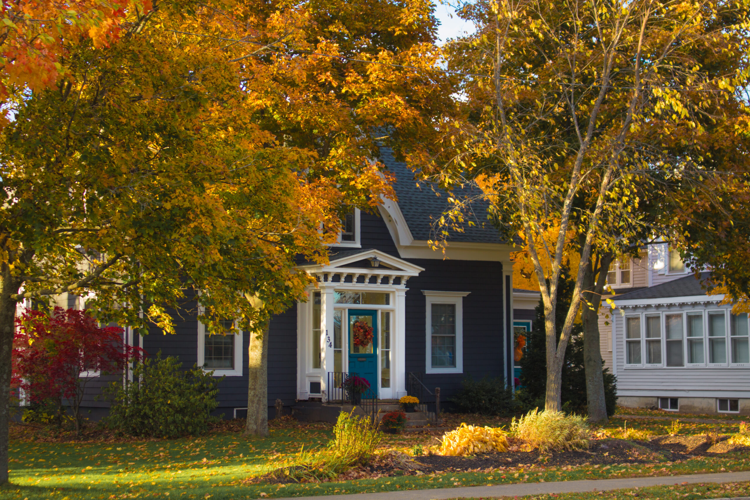 blue house in fall
